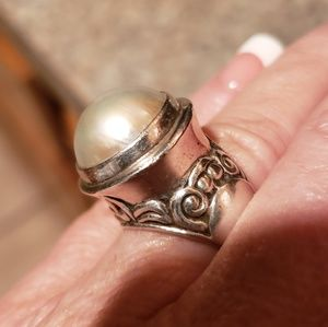 14mm Bali Geniune White Mabe Pearl Ring in .925